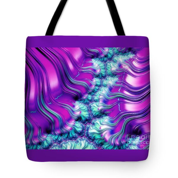 Magenta And Aqua Soft Fractal Abstract Tote Bag