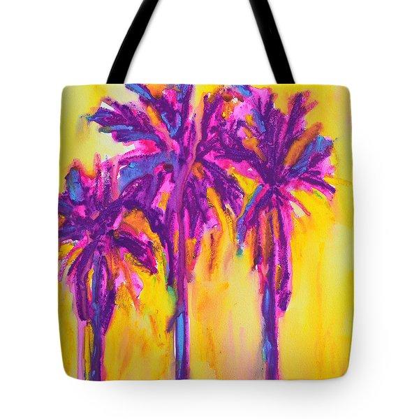 Magenta Palm Trees Tote Bag by Patricia Awapara