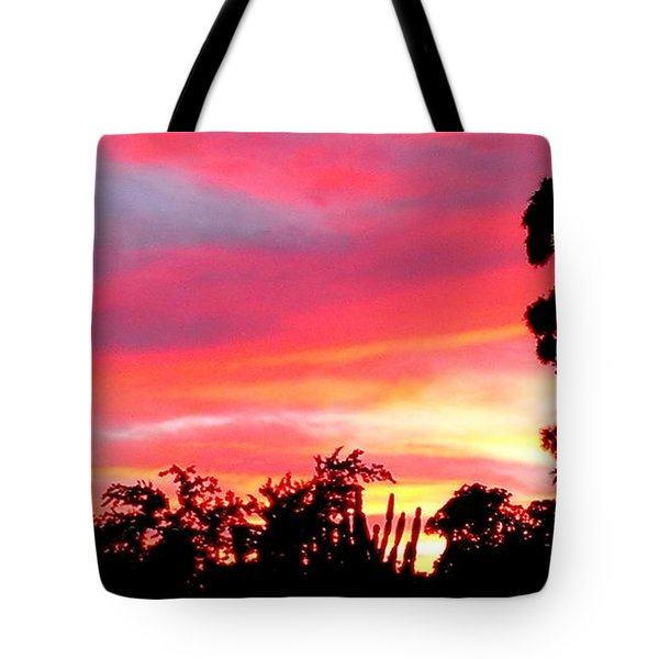 Tote Bag featuring the photograph Magenta Sunset by DigiArt Diaries by Vicky B Fuller