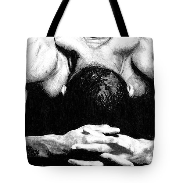 Tote Bag featuring the drawing Maggette by Tamir Barkan