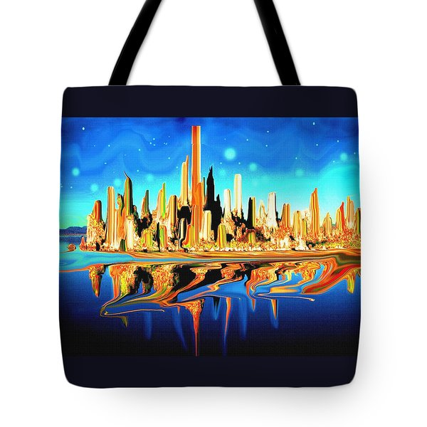New York Skyline In Blue Orange - Abstract Art Tote Bag by Art America Gallery Peter Potter