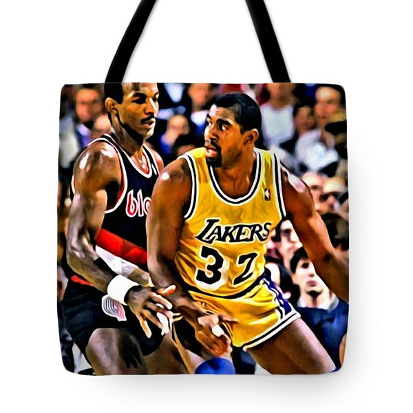 Magic Johnson Vs Clyde Drexler Tote Bag