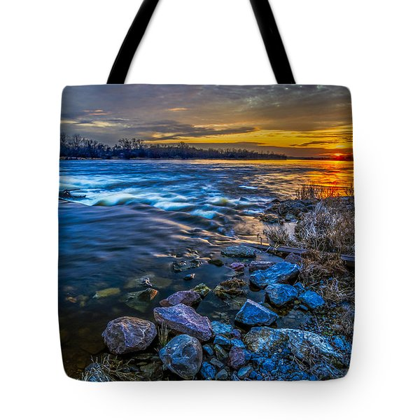 Tote Bag featuring the digital art Magic Sunset Over Narew River by Julis Simo