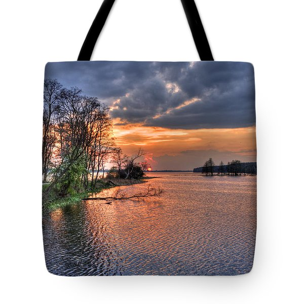 Tote Bag featuring the photograph Magic Sunset Over Zegrze Lake Near Warsaw In Poland by Julis Simo