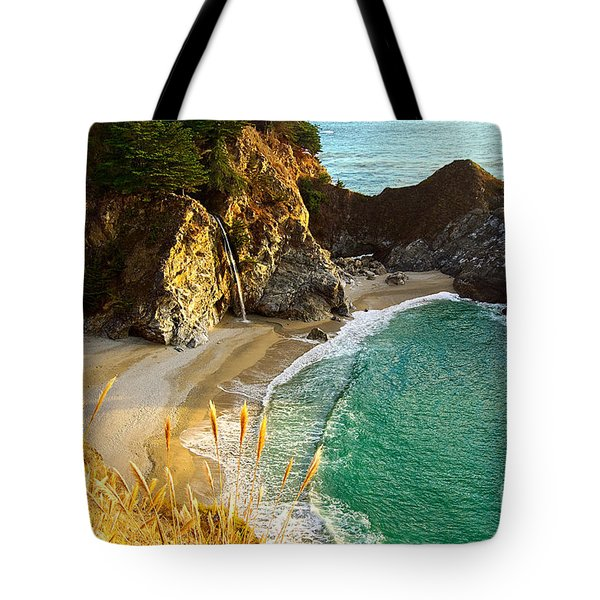 Magical Falls Of Mcway Waterfall At Julia Pfeiffer Burns State Park Tote Bag by Jamie Pham