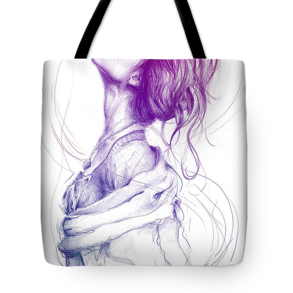 Purple Fashion Illustration Tote Bag