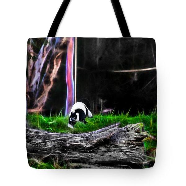 Walk In Magical Land Of The Black And White Ruffed Lemur Tote Bag