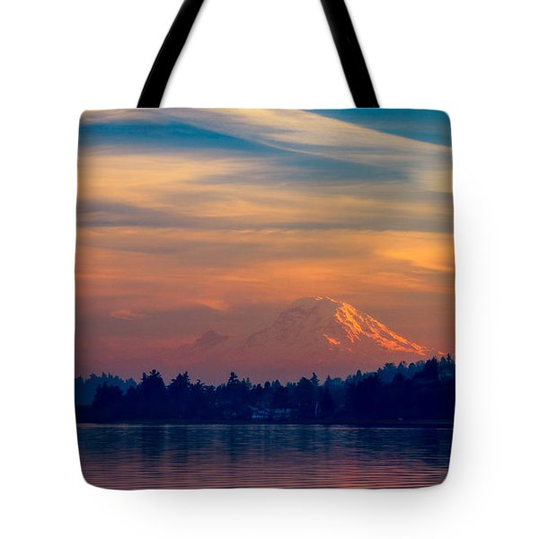 Magical Sunset At The Lake Tote Bag by Ken Stanback
