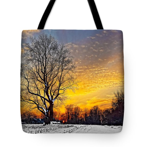 Magical Winter Sunset Tote Bag