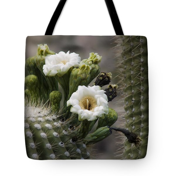 Tote Bag featuring the photograph Magnificant Bloom Of The Saguaro by Lucinda Walter
