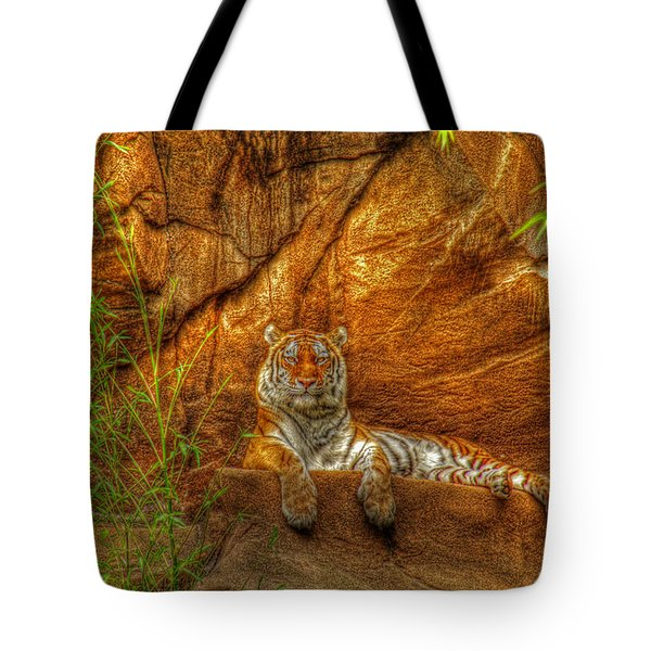 Magnificent Tiger Resting Tote Bag by Andy Lawless