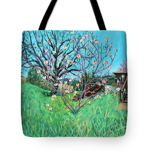 Magnolia Blooming At The Farm Tote Bag