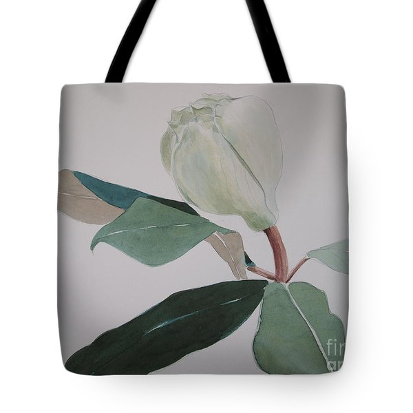 Tote Bag featuring the painting Magnolia Bud by Nancy Kane Chapman