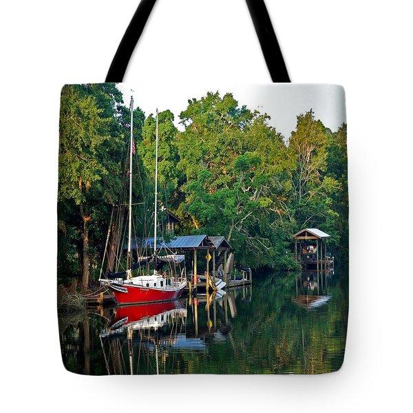 Magnolia Red Boat Tote Bag