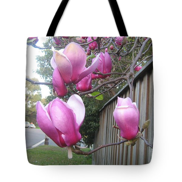 Tote Bag featuring the photograph Magnolias In Bloom by Leanne Seymour