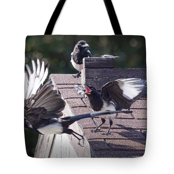 Magpie Dispute Tote Bag by Randall Nyhof