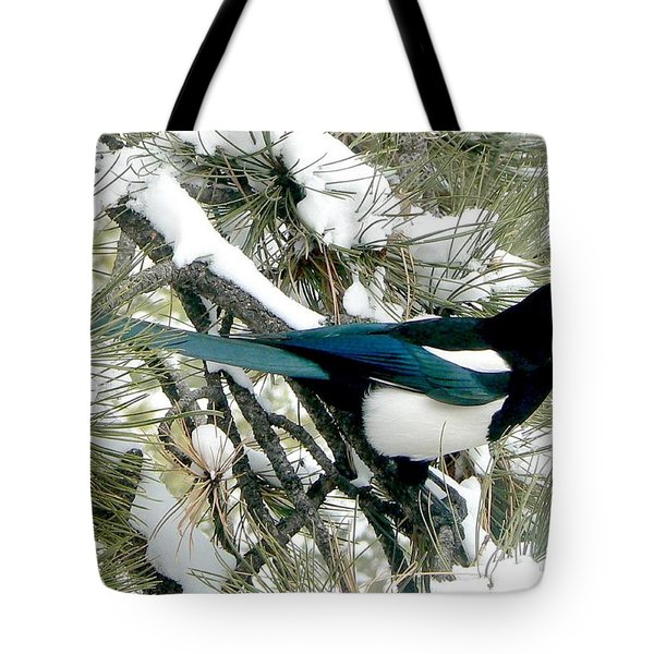 Magpie In The Snow Tote Bag