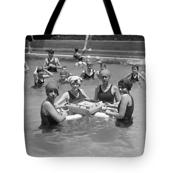 Mah-jong In The Pool Tote Bag by Underwood Archives