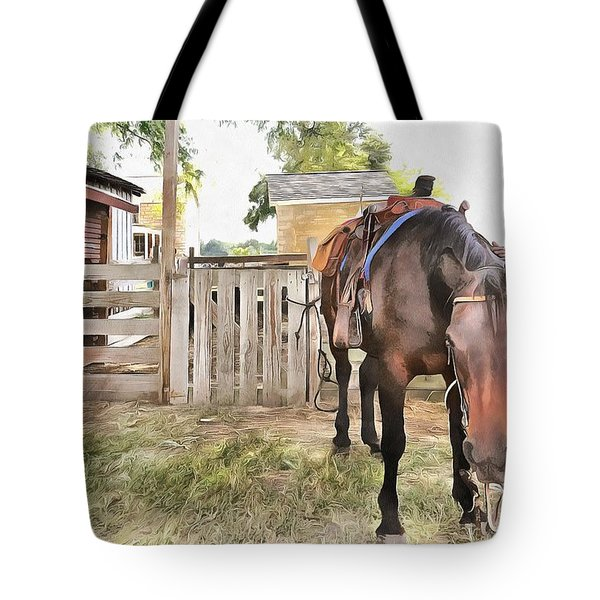 Tote Bag featuring the painting Mahaffie Stagecoach Stop And Farm by Liane Wright