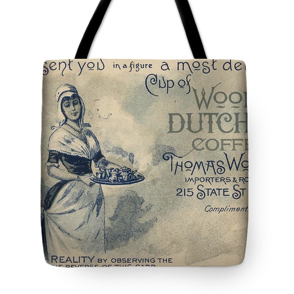 Maid Serving Coffee Advertisement For Woods Duchess Coffee Boston  Tote Bag by American School