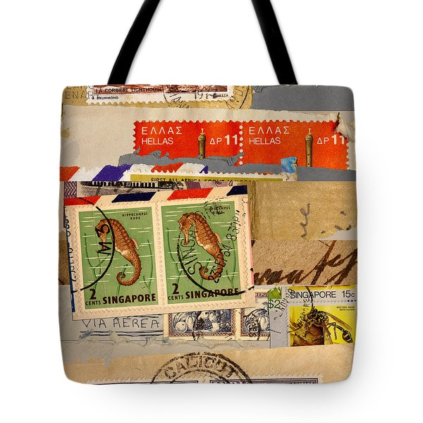 Mail Collage Singapore Seahorse Tote Bag
