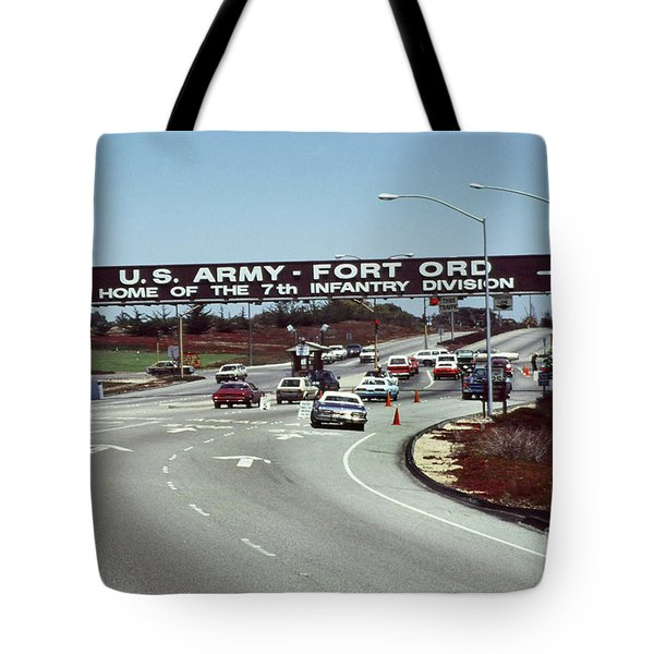 Main Gate 7th Inf. Div Fort Ord Army Base Monterey Calif. 1984 Pat Hathaway Photo Tote Bag