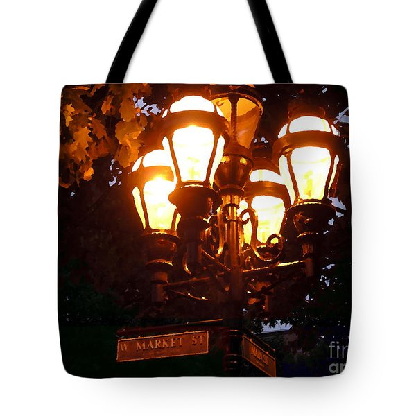 Main Street Gaslights - Abstract Tote Bag by Jacqueline M Lewis