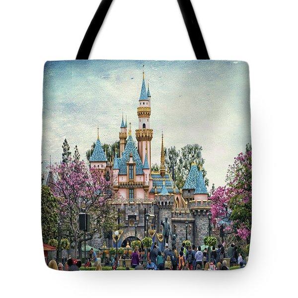 Main Street Sleeping Beauty Castle Disneyland Textured Sky Tote Bag