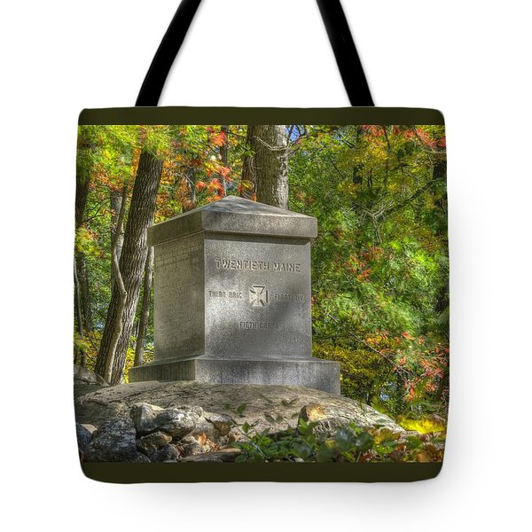 Maine At Gettysburg - 20th Maine Volunteer Infantry-b Little Round Top Extreme Left Of The Line Tote Bag