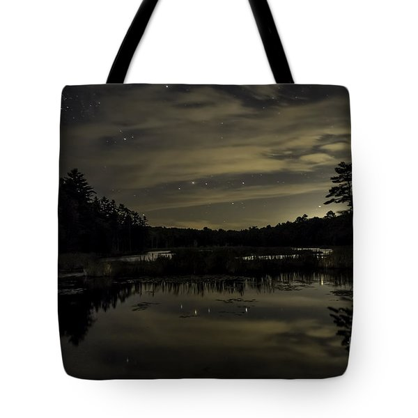 Maine Beaver Pond At Night Tote Bag