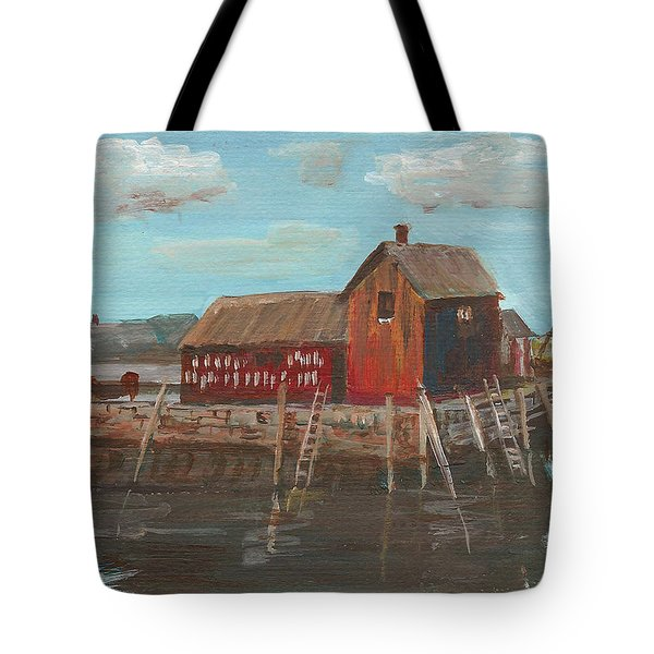 Maine Fishing Shack Tote Bag by Christine Lathrop