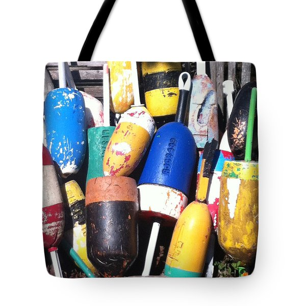 Tote Bag featuring the photograph Maine Lobster Buoys by Denyse Duhaime