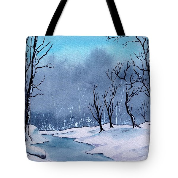 Maine Snowy Woods Tote Bag