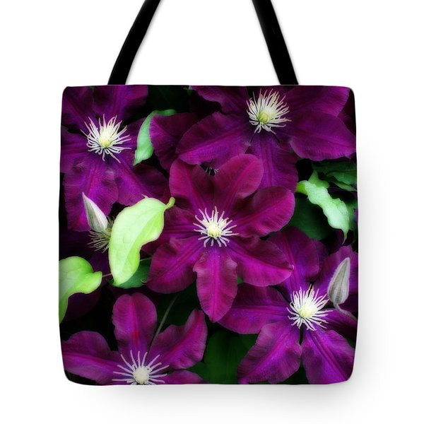 Majestic Amethyst Colored Clematis Tote Bag by Kay Novy