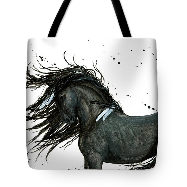 Majestic Friesian Horse 112 Tote Bag by AmyLyn Bihrle