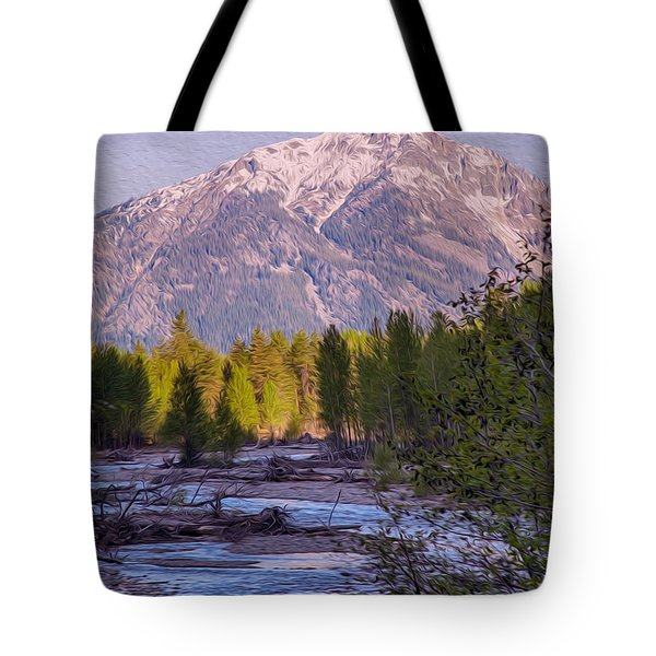 Majestic Mountain Morning Tote Bag by Omaste Witkowski
