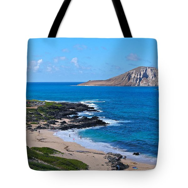 Makapuu Beach With Rabbit Island Tote Bag