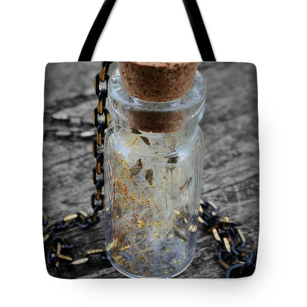 Make A Wish - Dandelion Seed In Glass Bottle With Gold Fairy Dust Necklace Tote Bag