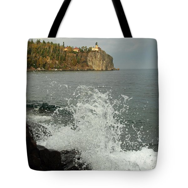 Tote Bag featuring the photograph Making A Splash At Split Rock Lighthouse  by James Peterson