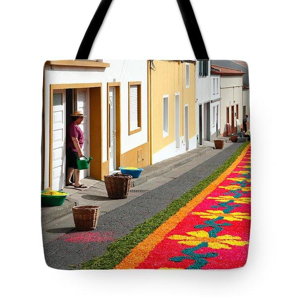 Making Flower Carpets Tote Bag by Gaspar Avila