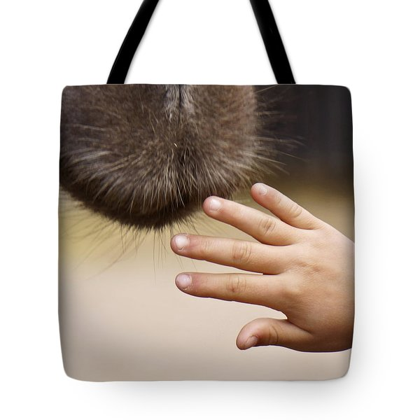 Tote Bag featuring the photograph Making Friends Again by Inge Riis McDonald