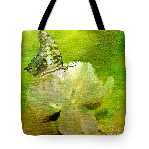 Malachite On Peony Tote Bag by Lois Bryan