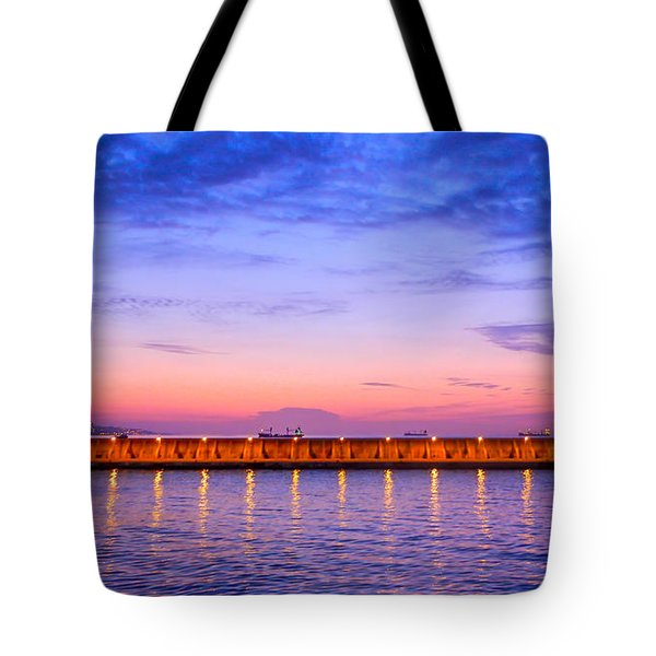 Tote Bag featuring the photograph Malaga Pink And Blue Sunrise  by Debra Martz