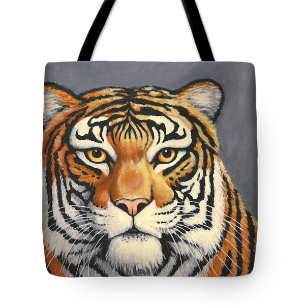 Tote Bag featuring the painting Malayan Tiger Portrait by Penny Birch-Williams