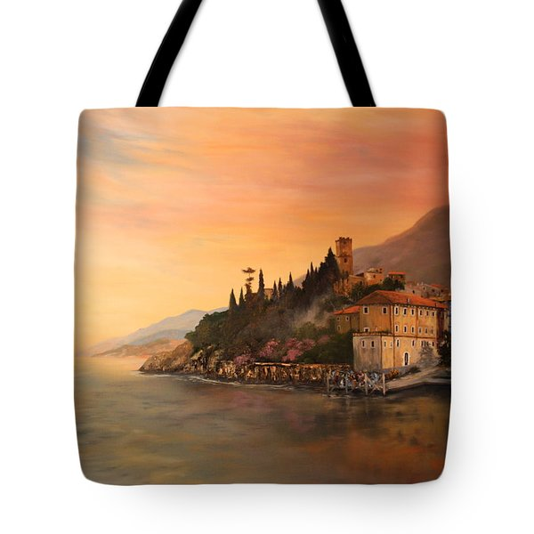 Tote Bag featuring the painting Malcesine Lake Garda Italy by Jean Walker