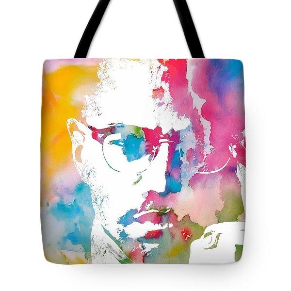 Malcolm X Watercolor Tote Bag