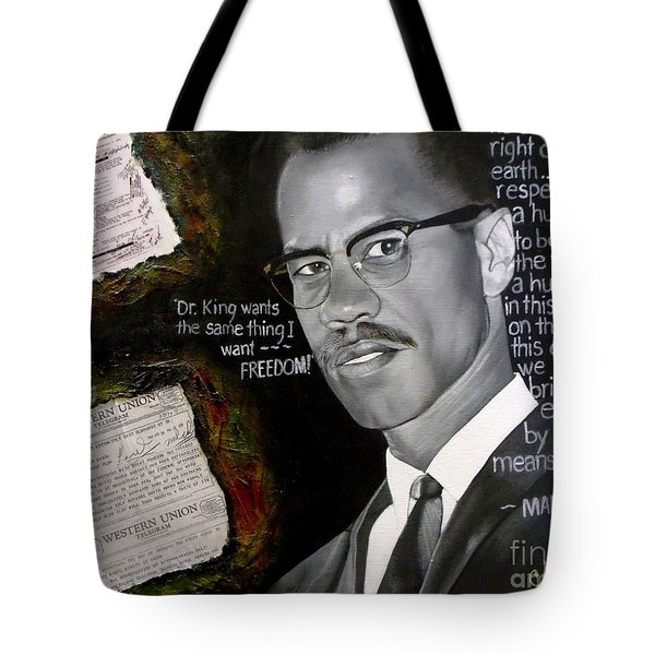 Malcom X Tote Bag by Chelle Brantley