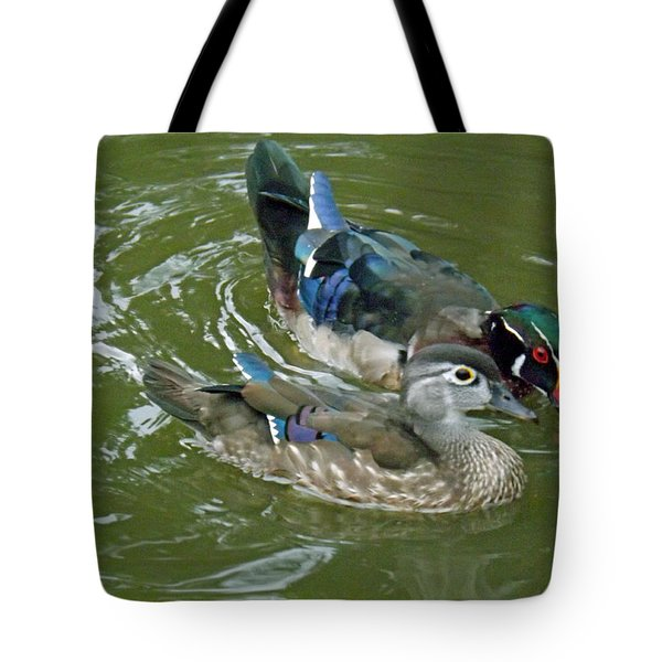 Male And Female Wood Ducks Tote Bag