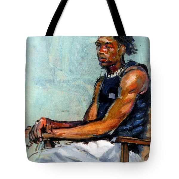 Male Figure Sitting Tote Bag