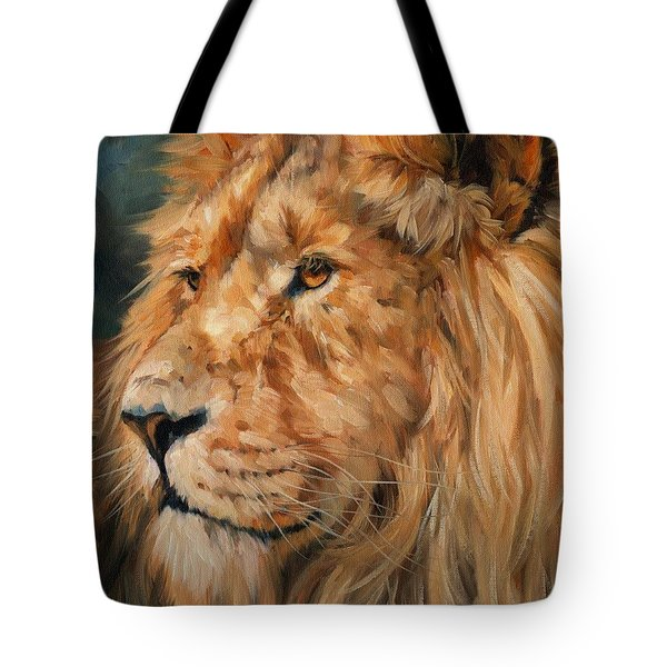 Male Lion Tote Bag by David Stribbling